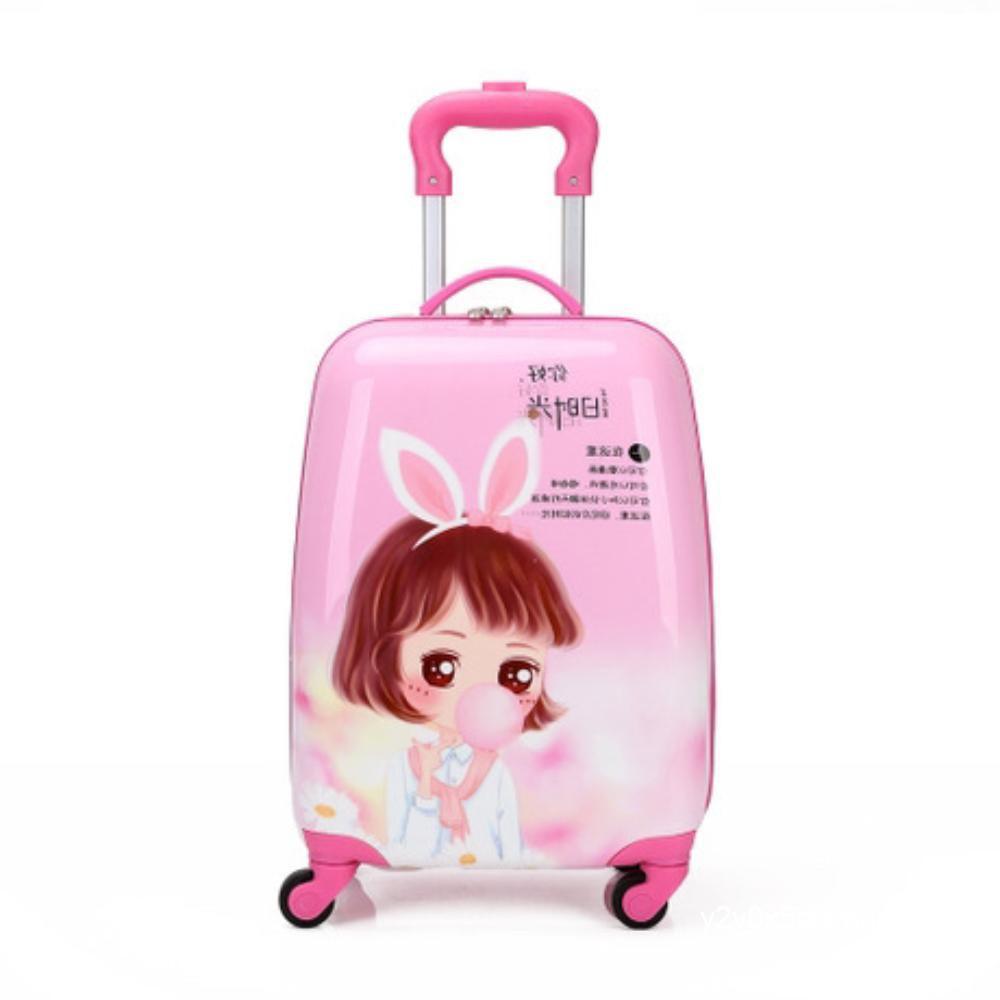 ชายและหญิงกระเป๋าเดินทางรถเข็นเด็กกระเป๋าเดินทางเจ้าหญิงการ์ตูนน่ารักกระเป๋าเดินทาง 18 นิ้วลากกล่องสากลล้อเด็ก