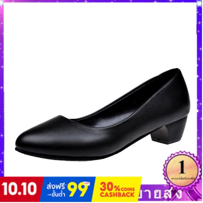 ⭐👠รองเท้าส้นสูง หัวแหลม ส้นเข็ม ใส่สบาย New Fshion รองเท้าคัชชูหัวแหลม  รองเท้าแฟชั่นรองเท้าทำงานหญิงสีดำสี่ฤดูกาลรองเท้