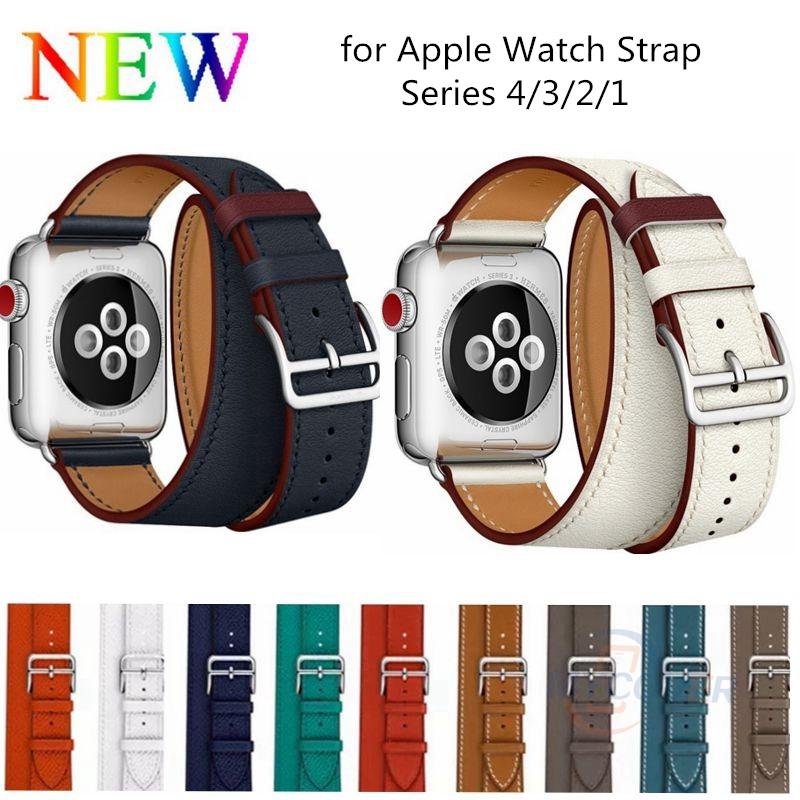 สายนาฬิกาหนังแท้สําหรับ Apple Watch Series 6 Se 5 4 3 2 1 Strap 38mm 40mm 42mm 44mm
