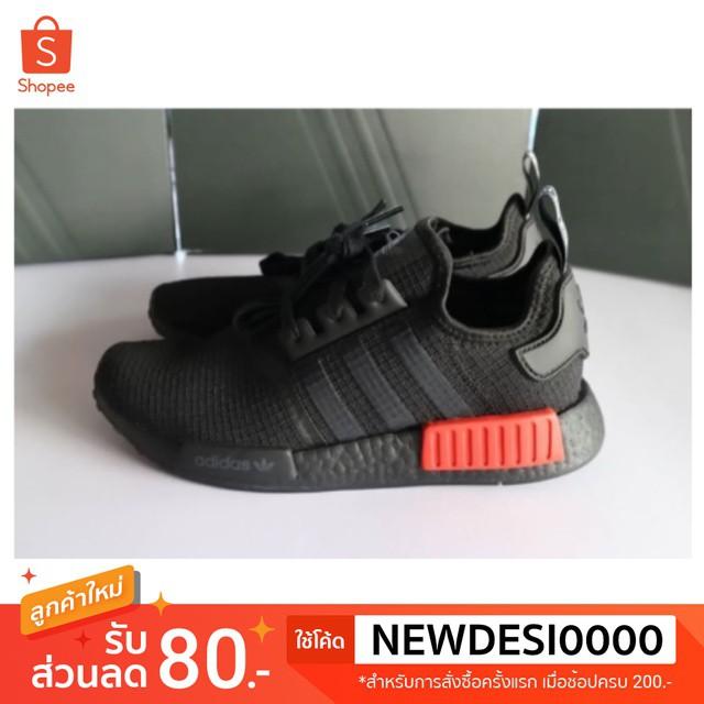 พร้อมส่ง : รองเท้า Adidas NMD R1 สีดำปลั๊กแดง ของแท้