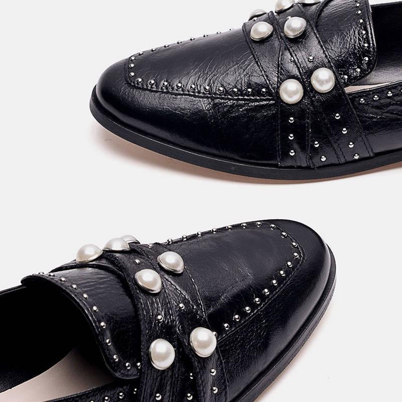 รองเท้าผู้หญิง รองเท้าคัชชู ✤ZARA TDM รองเท้าหนังสีดำ Rivet สไตล์อังกฤษป่ามุก Le Fulipa กับรองเท้าเดี่ยวหนังหญิง❤