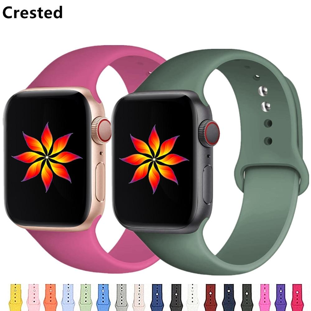 สายนาฬิกาข้อมือซิลิโคนสําหรับ Apple Watch Band 44 มม . 40 มม . 38 มม . 42 มม . Iwatch Series 5 4 3 Se 6