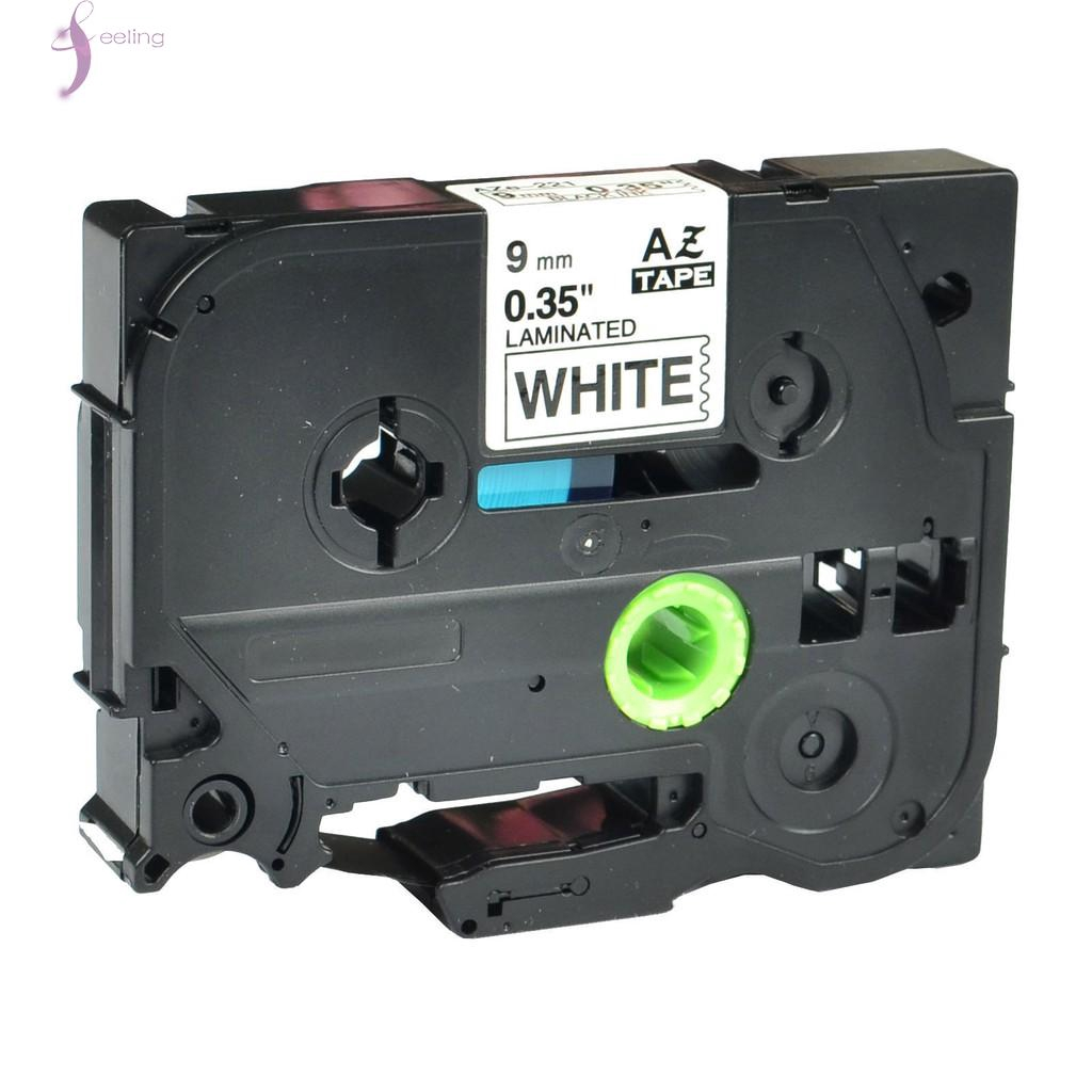 """5pk Black on White Label Tape Compatible for Brother P-Touch TZ TZe 221 9mm 3//8/"""""""