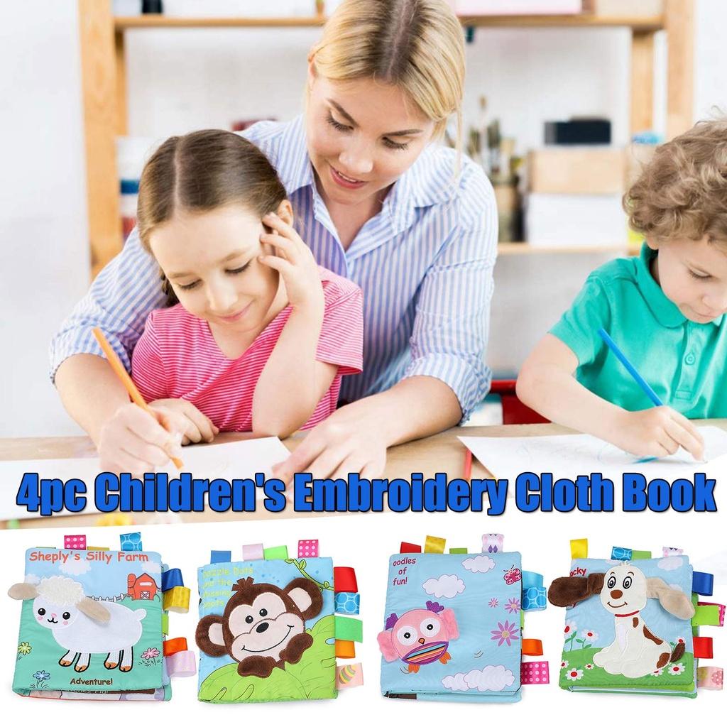 Dealsgo 4PCs Baby Books Soft Baby Bath Books Crinkle Educational Book