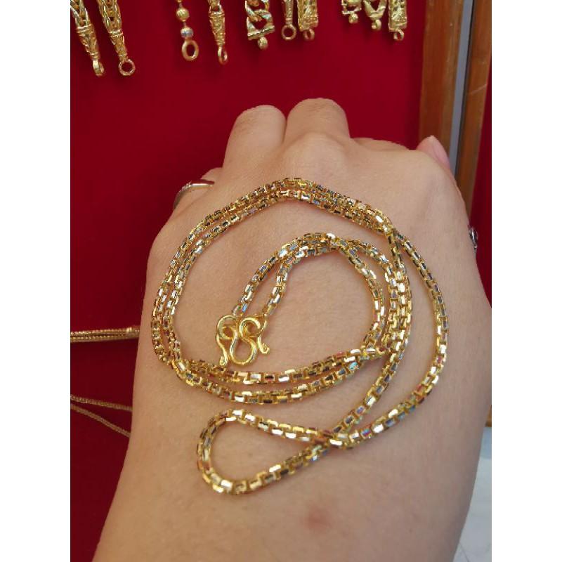 สร้อยคอทองแท้ 96.5%  เลเซอร์ทองคำขาว น้ำหนัก 1 บาท ยาว24cm ราคา 28,900บาท