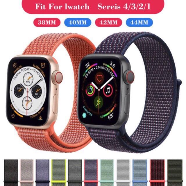 สายนาฬิกาข้อมือไนล่อนสําหรับ Apple Watch Band Series 5 4 3 42 มม . 38 มม .