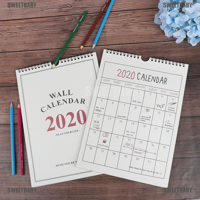 EASY LARGE MEMO// 3 MONTH TO VIEW SLIM 2020 WALL CALENDAR HOME OFFICE