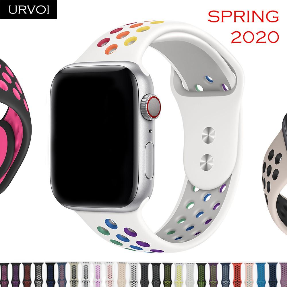 Urvoi สายนาฬิกาซิลิโคนสําหรับ Apple Watch Series 6 Se 5 4 3 2 1 Double Color Strap 38 มม. 40 มม. 4 มม. 2020