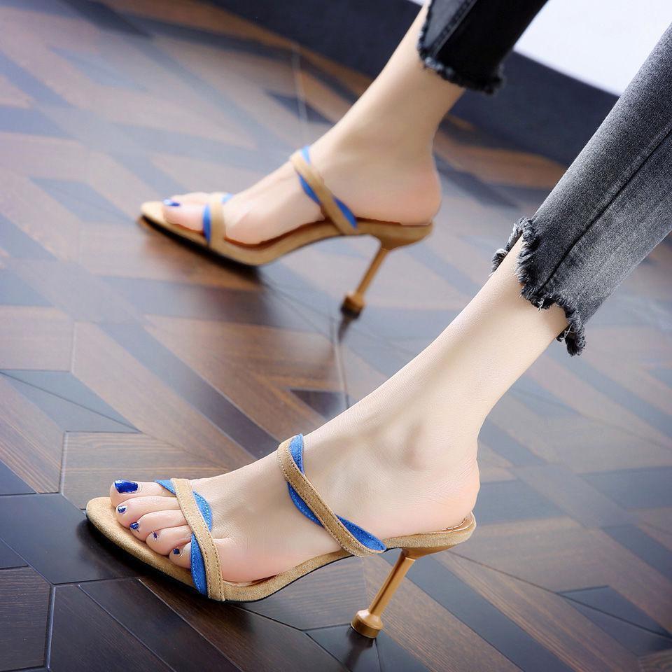 รองเท้าส้นสูง หัวแหลม ส้นเข็ม ใส่สบาย New Fshion รองเท้าคัชชูหัวแหลม  รองเท้าแฟชั่นรองเท้าแตะส้นสูง Stiletto และรองเท้าแ