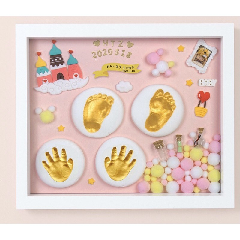 <พร้อมส่ง>ชุดปั๊มมือเท้าเด็กของขวัญกรอบรูปประดิษฐ์ ที่ระลึกปั้มเท้าเด็กแรกเกิด ของฝาก ทารก Family Baby Footprint.