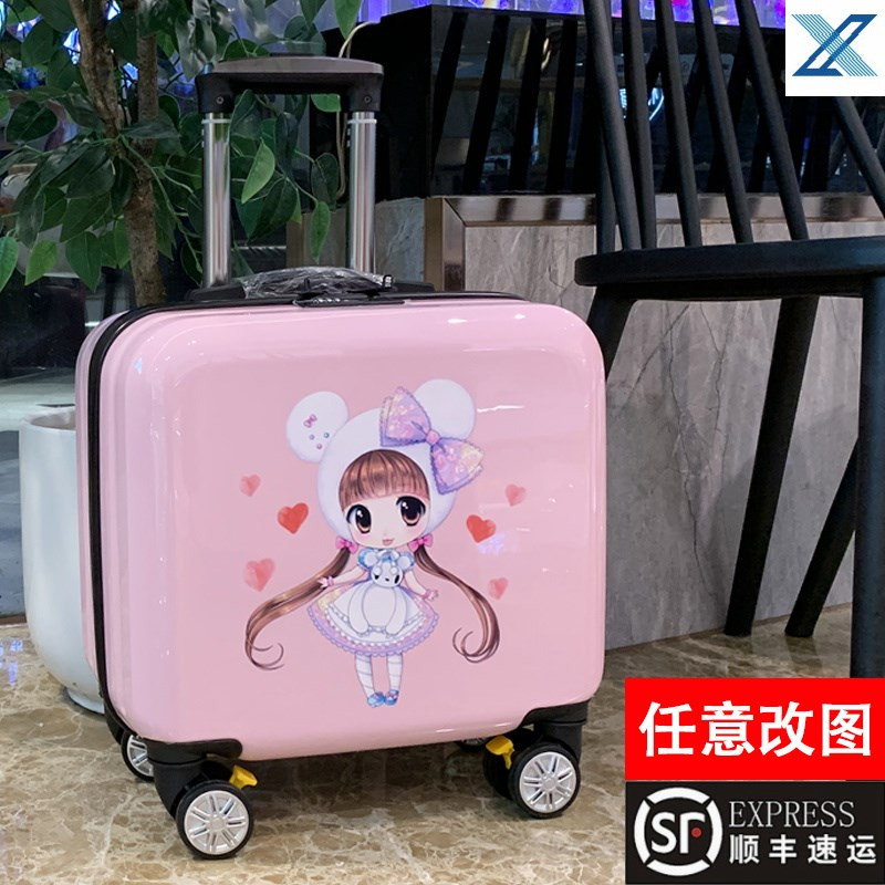 ✴℉ กระเป๋าเดินทางล้อลาก กระเป๋าเดินทางล้อลากใบเล็กเด็กสามารถนั่งสามารถตรวจสอบกระเป๋าinsสุทธิสีแดงใหม่การ์ตูนเด็กเล็กกรณี