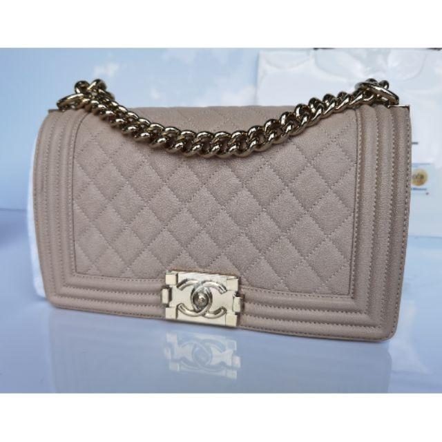 Chanel Boy10 beige caviar GHW full set price : 179,999฿