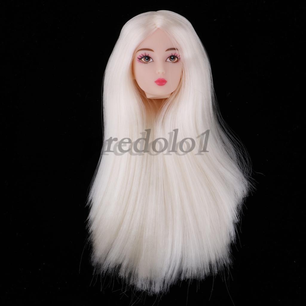1//6 BJD Makeup Face Head Sculpt Black Hair Doll Replacement Body Part DIY