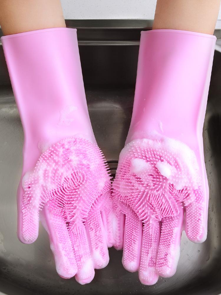 ถุงมือล้างผักสิ่งประดิษฐ์น้ำยาล้างจานน้ำยาล้างจานถุงมือหญิงซิลิโคนครัวบ้านคงทนถุงมือมายากลบ้านซักรีด