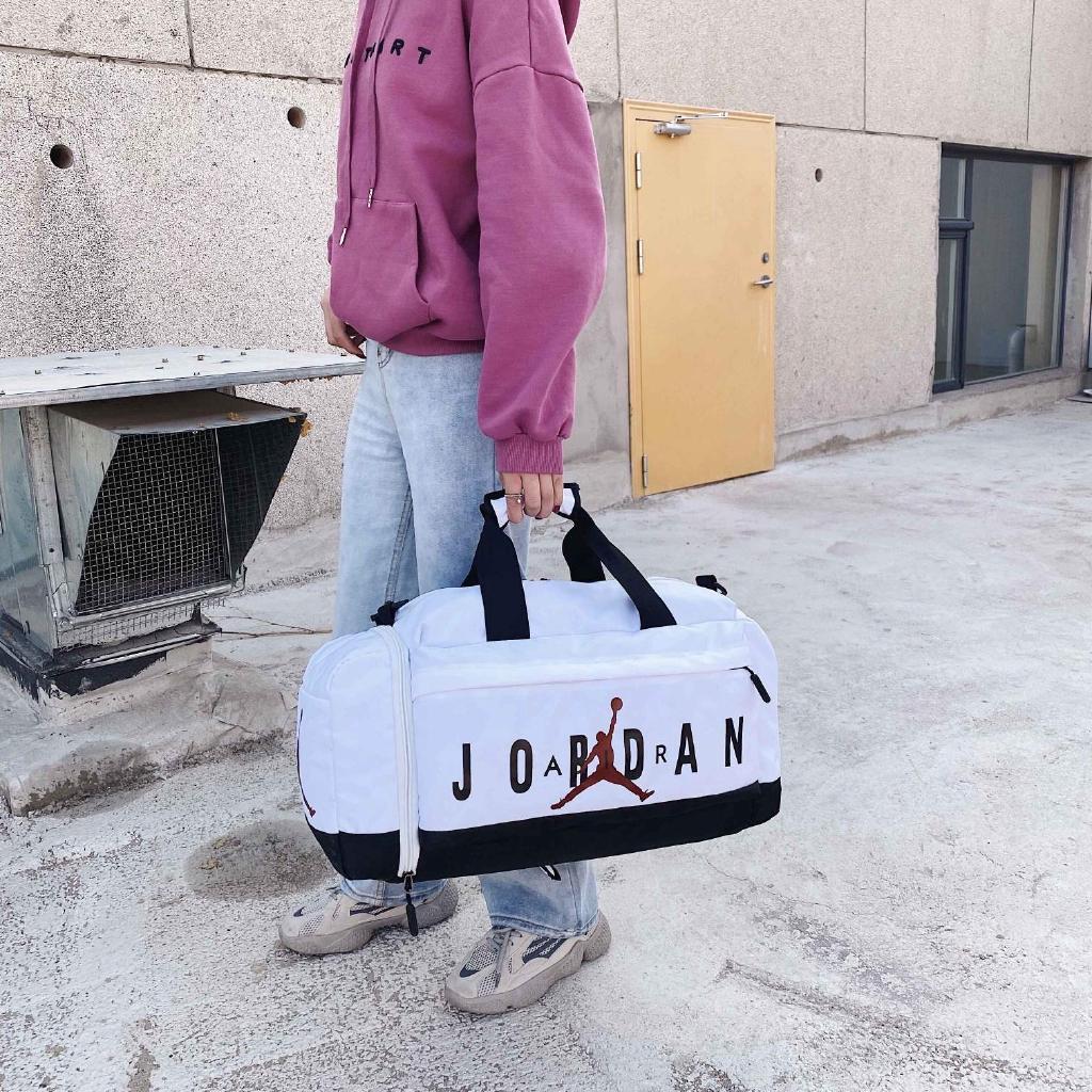 JORDAN กระเป๋าเดินทางไฟเบอร์แบบเรียบง่ายความจุขนาดใหญ่กระเป๋าถือสีขาวสีดำ 48 ﹡ 20 ﹡ 24 (ซม.)