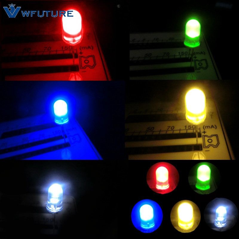 300x Ultra Bright 3mm//5mm Red//Blue//Green//White//Yellow Lamp Emitting Diode