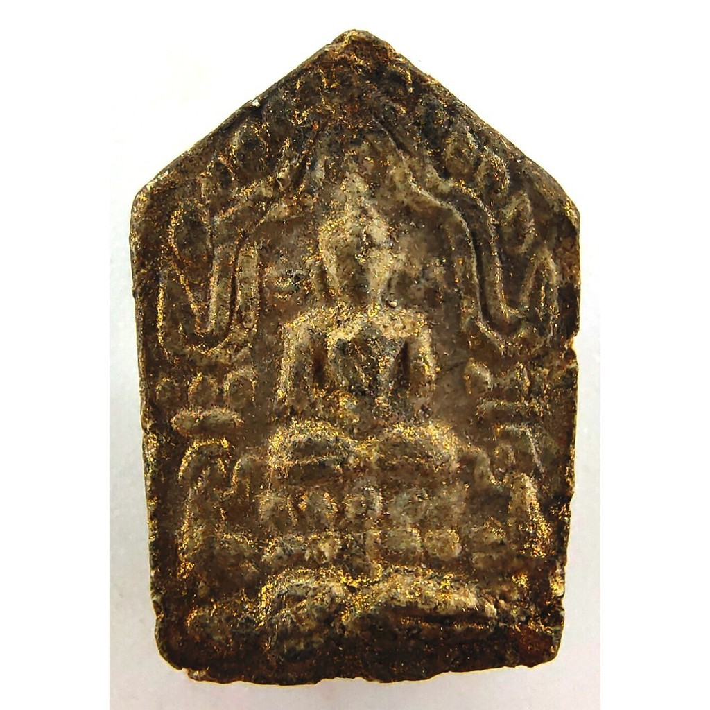 พระขุนแผนผงพรายกุมาร พิมพ์เล็ก เนื้อขาวจินดามณี ลงบรอนซ์ทอง หลังฝังตะกรุดทองคำ หลวงปู่ทิม ปี 2515