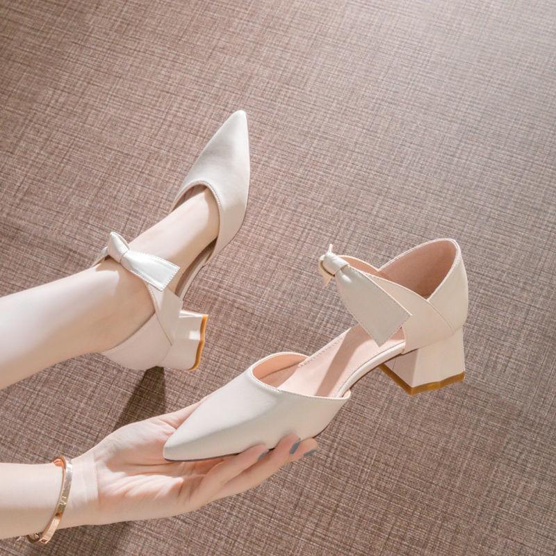รองเท้าส้นสูง หัวแหลม ส้นเข็ม ใส่สบาย New Fshion รองเท้าคัชชูหัวแหลม  รองเท้าแฟชั่นรองเท้าผู้หญิงใหม่อินเทรนด์กุทัณฑ์รอง