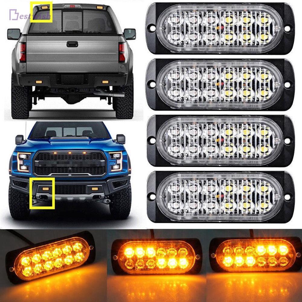 1x 12v 24v Dual Voltage Red Slim Strobe Flashing LED Truck Breakdown Lorry Lamps