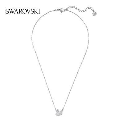 モ☂หรูหราสร้อยคอเครื่องประดับเครื่องประดับ[618คาร์นิวัล] Swarovski Swan Pave หงส์น้อยตีความสร้อยคอหญิงผู้สูงศักดิ์และมีเส