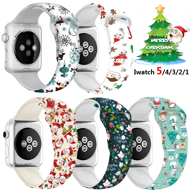 New Printed Sport Band For Apple Watch series 6 5 4 3 2 1 iWatch Christmas Gift Silicone Wrist Strap for 38mm 40mm 42mm 44mm