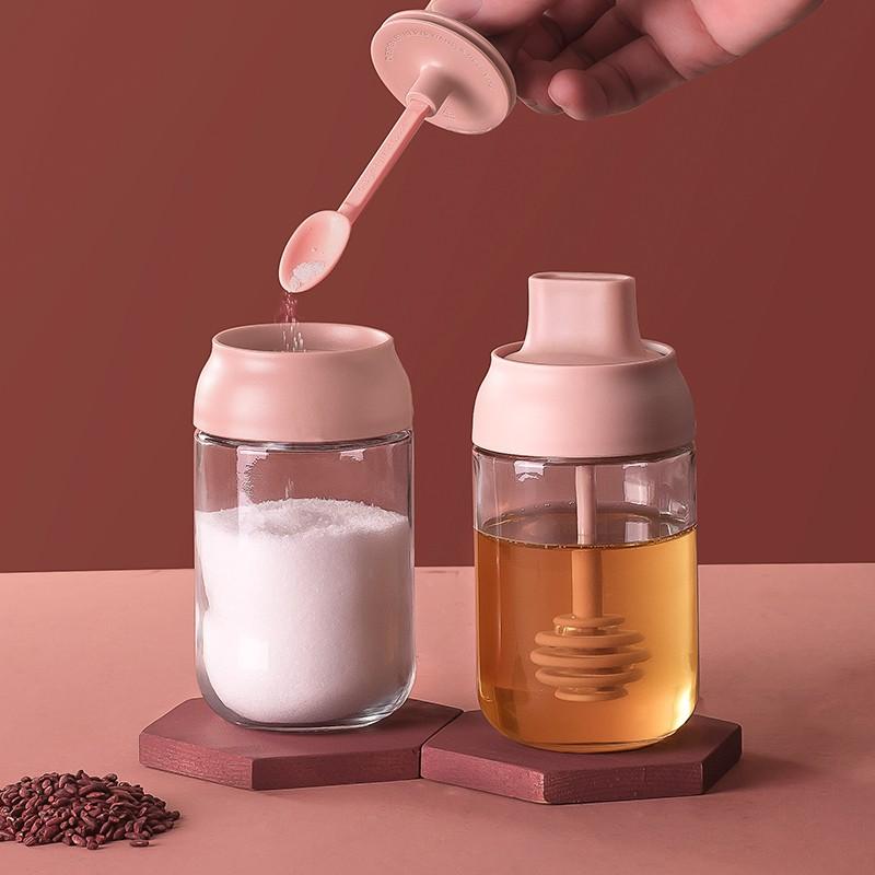 ℉ℂ วัสดุแก้ว  ถังปรุงรส กล่องปรุงรสป้องกันความชื้นแก้วที่ใช้ในครัวเรือนรวมกันขวดปรุงรสโถเกลือปั่นห้องครัวที่เก็บน้ำตาลผง