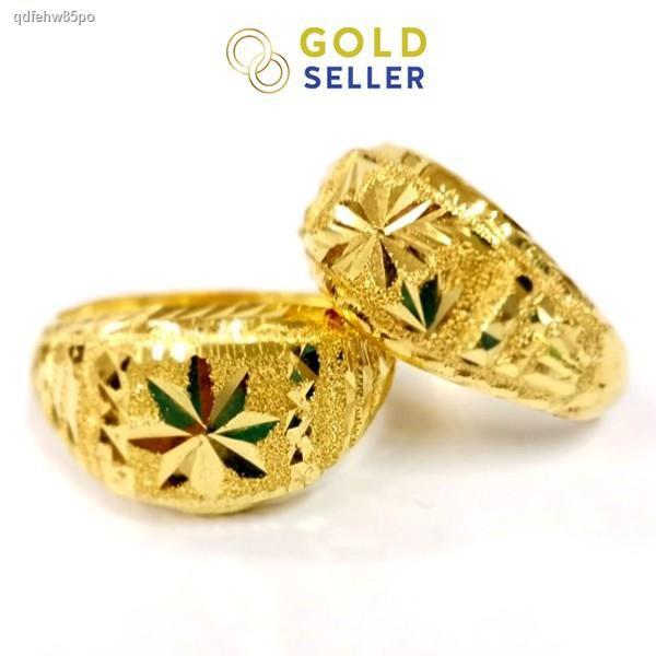 ราคาต่ำสุด☞Goldseller แหวนทอง หัวโปร่ง คละลาย น้ำหนัก 1 สลึง ทองคำแท้ 96.5%