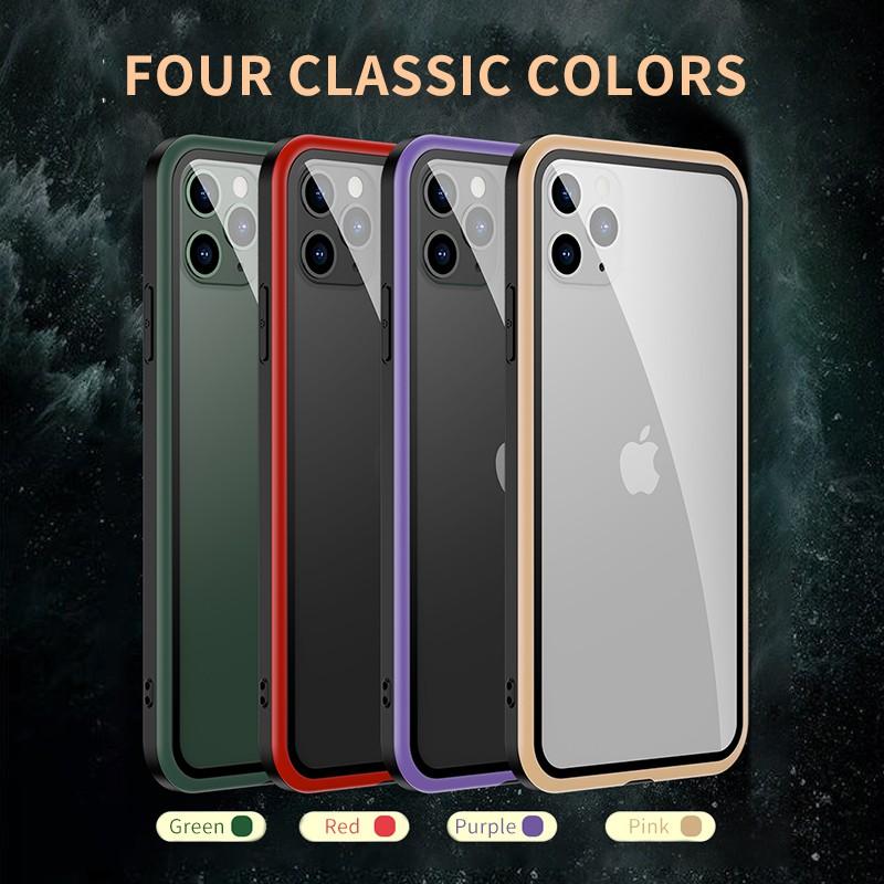 เคสโทรศัพท์มือถือแบบสองด้านสําหรับ iphone 11 pro max x x xr x xs i8 plus i 7 se 2 9 h