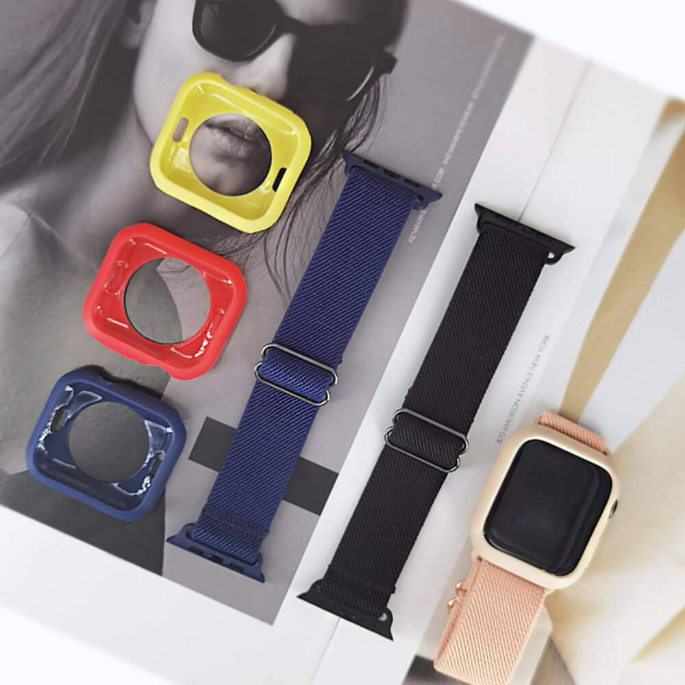 For Apple Watch SE Band Smart Watch Series 6 5 4 3 Nylon Stretch Elastic + Case 40mm 44mm 38mm 42mm For iwatch Bracelet