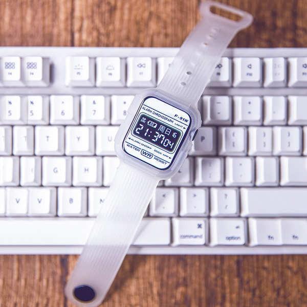 สาย applewatch เหมาะสำหรับสายรัดแบบใสในตัวของ applewatch iwatch glacier protective sleeve 456 / SE generation electronic