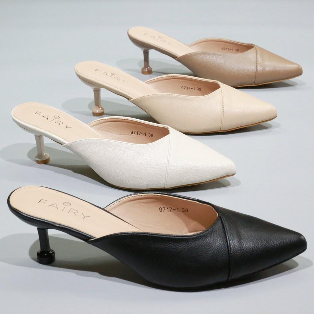 """รองเท้าส้นสูง 9717-1 คัชชูเปิดส้นสูง 2.5""""   รองเท้าคัชชูหัวแหลม เปิดส้น  ส้นสูง แฟชั่น FAIRY"""