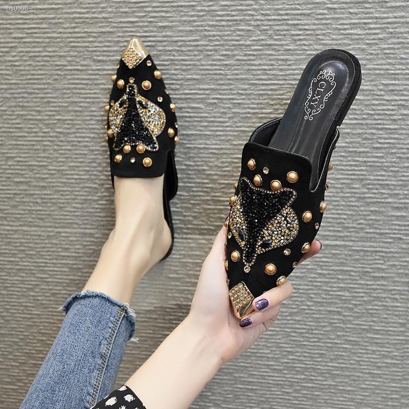 ┋รองเท้าเปิดส้น เปิดส้น รองเท้าคัชชูผู้หญิง🍓รองเท้าส้นเตี้ยหัวแหลม รองเท้าแฟชั่นสตรี เกาหลี รองเท้าผู้หญิงเปิดส้น