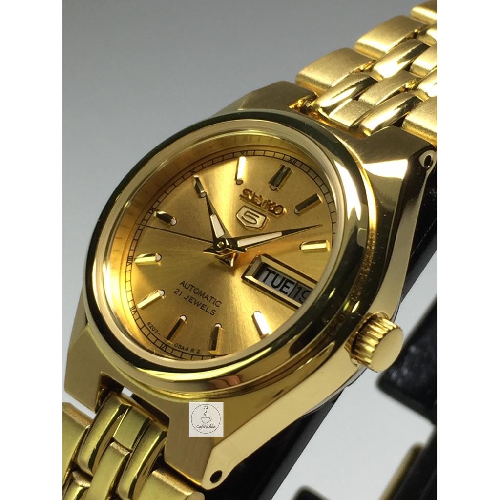 นาฬิกา ไซโก้ ผู้หญิงเรือนทอง Seiko 5 รุ่น SYMA04K1 Automatic Women Watch ตัวเรือนและสายแสตนเลสชุบทอง หน้าปัทม์สีทอง