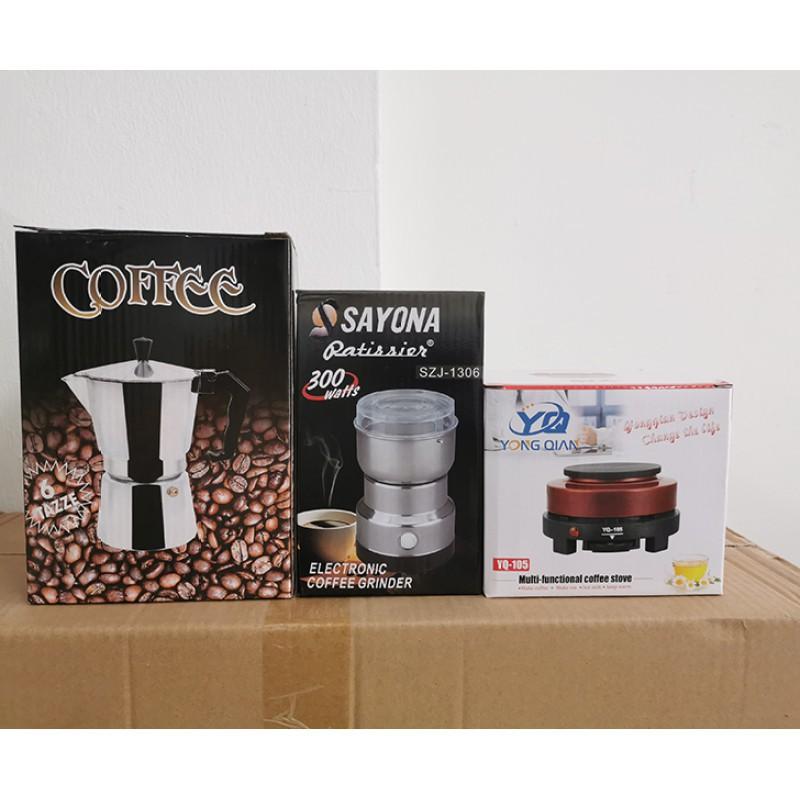▬♂เครื่องชุดทำกาแฟ 3IN1 เครื่องทำกาหม้อต้มกาแฟสด สำหรับ 6 ถ้วย / 300 ml +เครื่องบดกาแฟ + เตาอุ่นกาแฟ เตาขนาดพกพา
