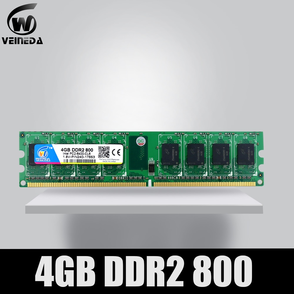 VEINEDA Memoria Ram ddr2 4gb 800 pc2-6400 Compatible ddr2 4 gb 667 PC5300 for Intel AMD Mobo
