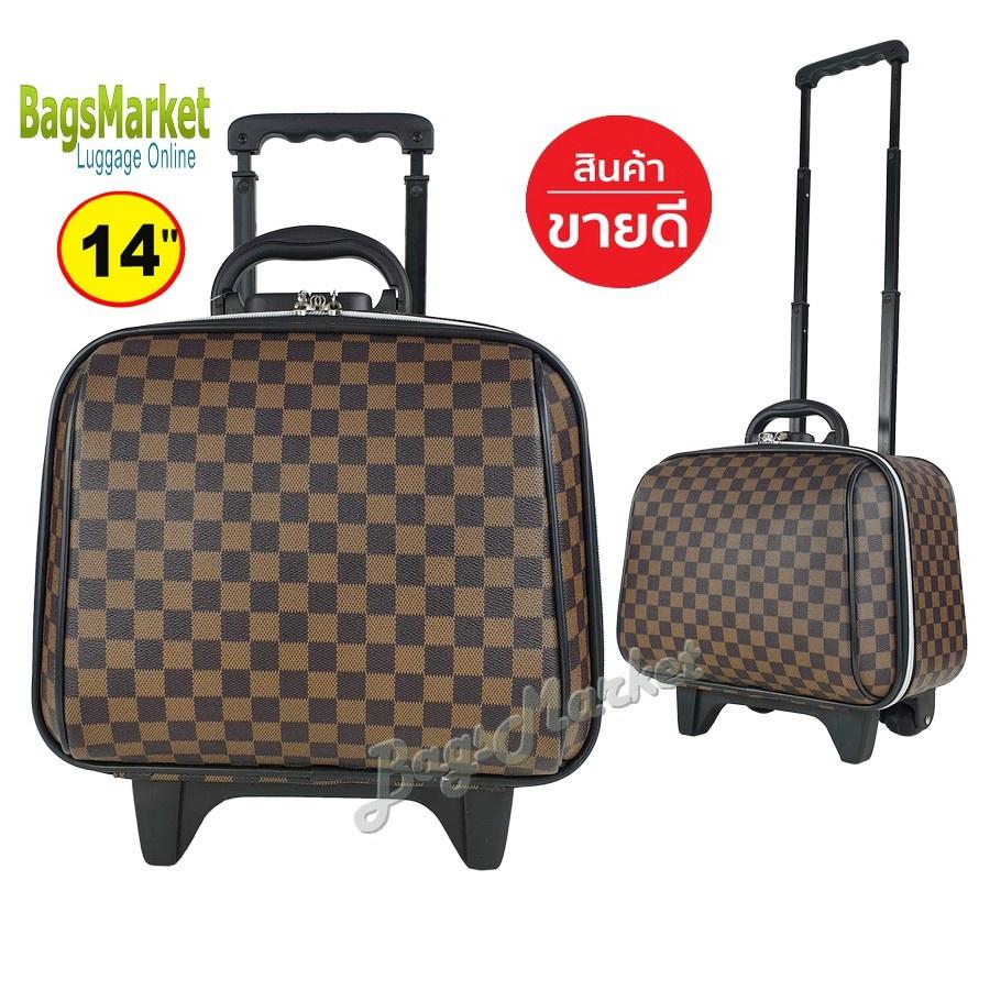 ilu❆Wheal กระเป๋าเดินทางล้อลาก 14 นิ้ว Luxury Classic Brown Classic1