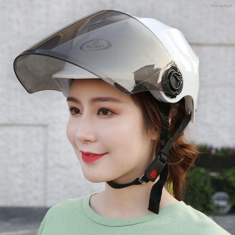 หมวกกันน็อค♂☾☂> รถจักรยานยนต์ หมวกกันน็อกหมวกกันน็อกแบบเต็มหน้าสำหรับผู้ชายและผู้หญิงจักรยานไฟฟ้าฤดูร้อนป้องกันรังสีอั