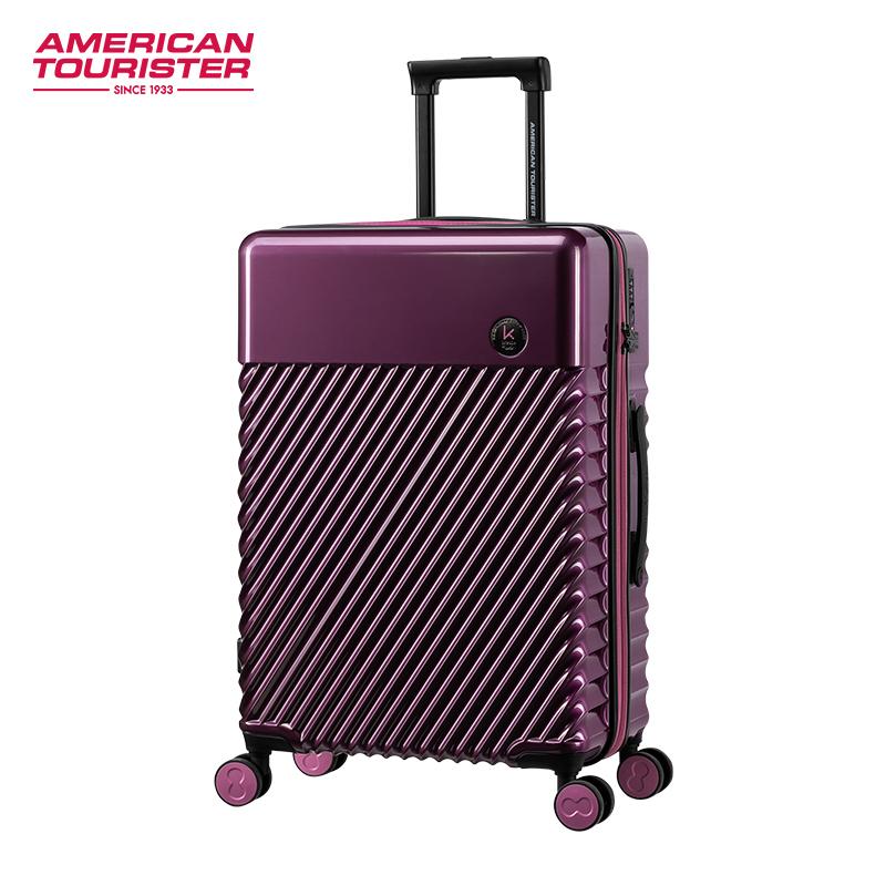 ♓ィกระเป๋าเดินทางขึ้นรถท้ายรถAmerican Travel x designer Karim รุ่นร่วมกระเป๋าเดินทางขนาดเล็ก20/24นิ้วพร้อมรถเข็นล้อเอนกปร
