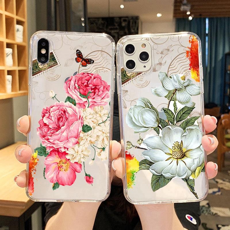 Vintage luxury flowers Transparan Soft Case Samsung J8 2018 J6 2018 J6Plus/J6+ J4 2018 J4Plus/J4+ J2PRO 2018 J7Plus J7Pro/J7 2017 J5Pro/J5 2017 J3Pro/J3 2017 J7Prime J5prime J2prime J710/J7 2016 A71 Note9 Note10 Note8 Note10Plus A51