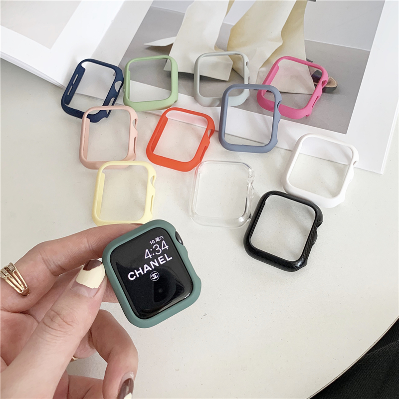Ultra-thin Frame Slim Candy Color PC Cover for Apple Watch Series 6 SE 5 4 3 2 1 Case Protector for IWatch 38 42 40 44mm