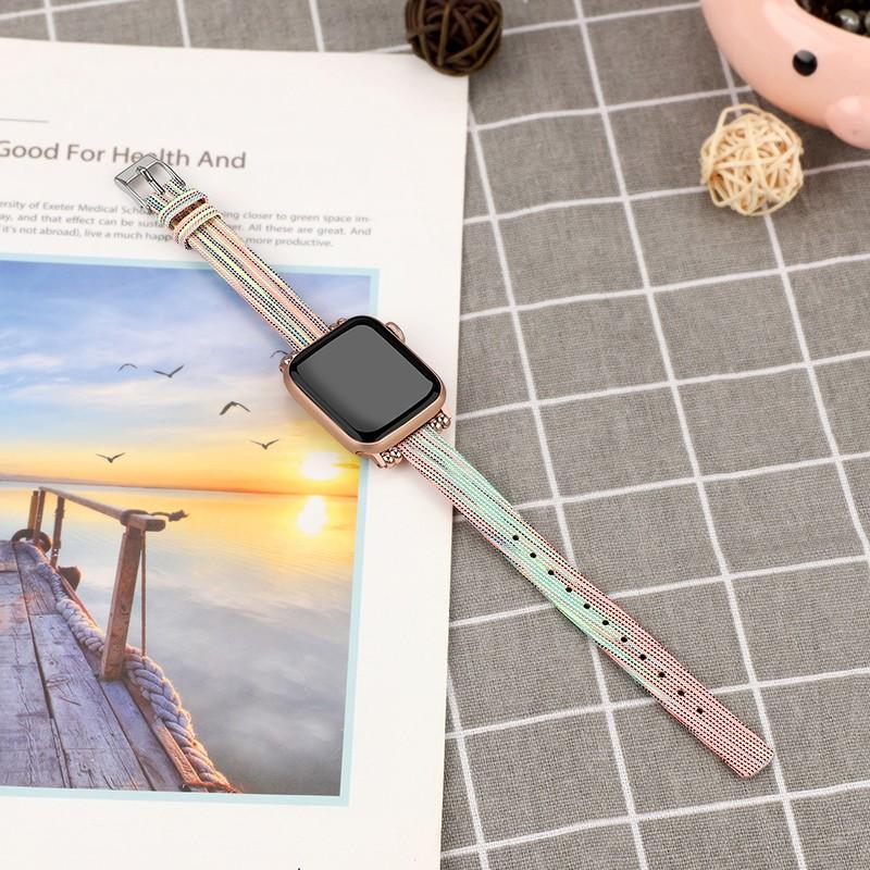【Apple Watch Strap】ใช้ได้กับ Apple watch watch6 สายรัด iwatch1 2 3 4 5 หมายถึง smart series canvas nylon 38 40 42 44m