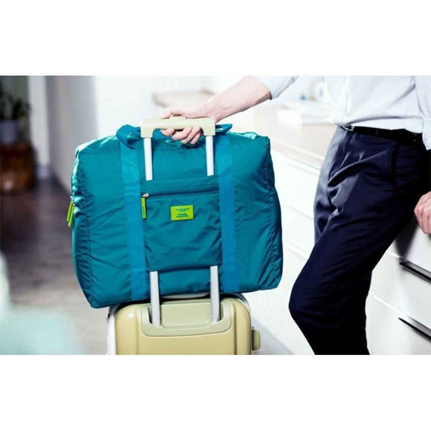 กระเป๋าเดินทางพับย่อส่วนได้ ใช้แขวนพ่วงกระเป๋าล้อลากได้รุ่น Folding Bag01 - สี Marine Blue