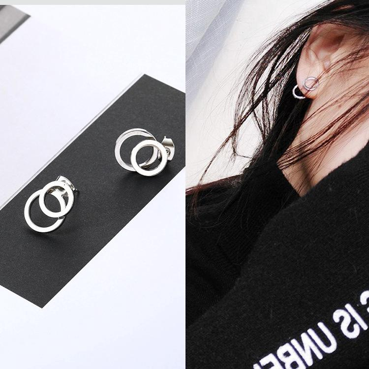 Review Korea Fashion ต่างหู Temperament Simple Personality Double Circle Earring Stud Earring
