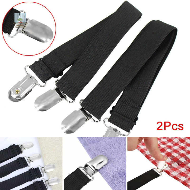 2Pcs Fitted Bed Mattress Sheet Clips Grippers Straps Suspender Fasteners Holder