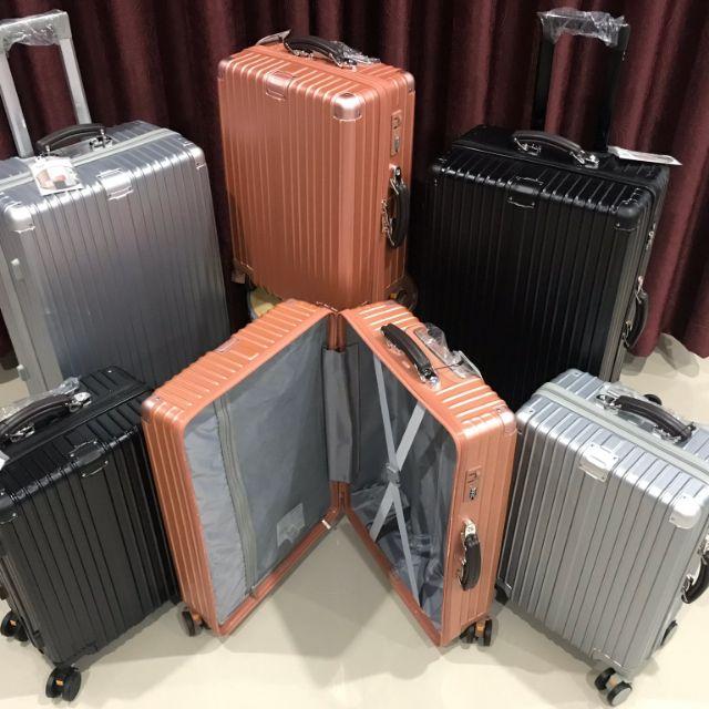 """กระเป๋าเดินทางยี่ห้อ  HANK แบบซิปล็อค ขนาด 20""""24"""" สี พริ้งโกล ดำ เงิน"""