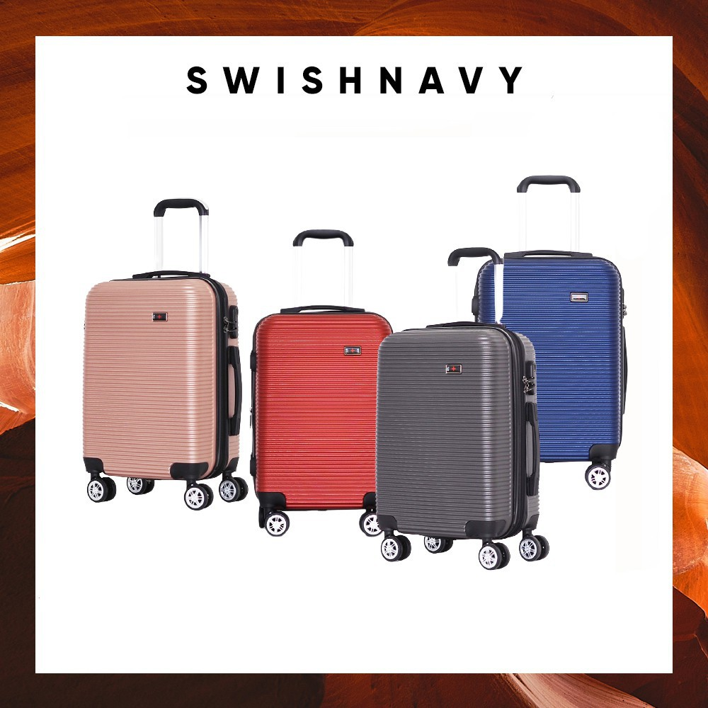 กระเป๋าเดินทาง 20 นิ้ว กระเป๋าเดินทาง SWISHNAVYกระเป๋าเดินทางล้อลาก รุ่น8008 ขนาด20/24/28 นิ้ว วัสดุ ABS แข็งแรง น้ำหนัก