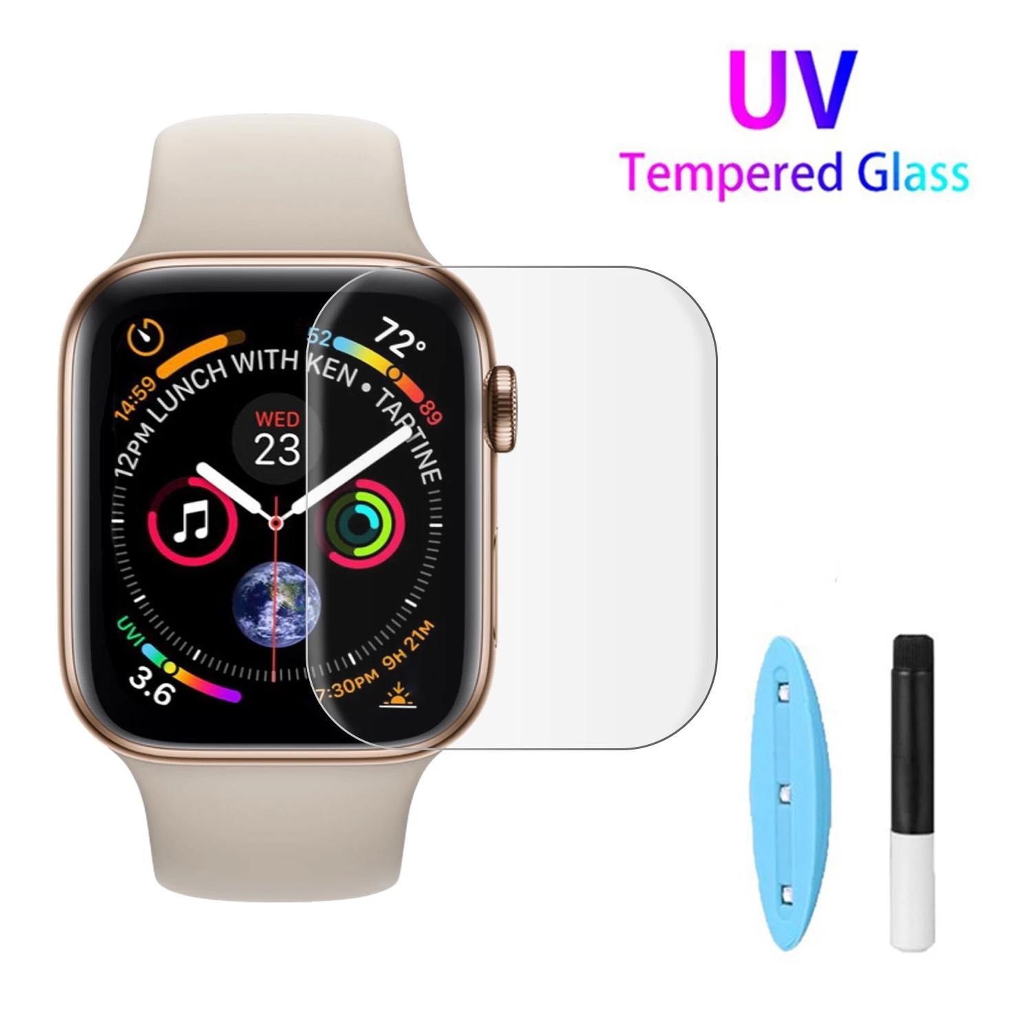 ฟิล์มกระจก แบบเต็มจอ UV ของแท้ Apple iWatch 38mm 40mm 42mm 44mm 9H for Apple Watch 6 5 4 3 2 1 Series
