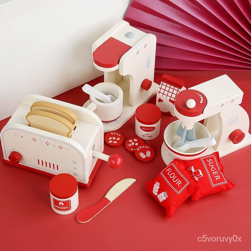 🍱 บ้านไม้เด็กเล่น เครื่องทำขนมปัง เครื่องชงกาแฟ เครื่องผสม ชุดการศึกษาสำหรับเด็ก การจำลอง ครัวตัด ของเล่นเด็ก บ้านของเล่
