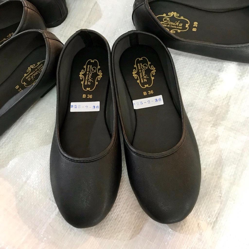 รองเท้าคัชชู พื้นเรียบ สีดำ 36-44 กำมะหยี่รองเท้า