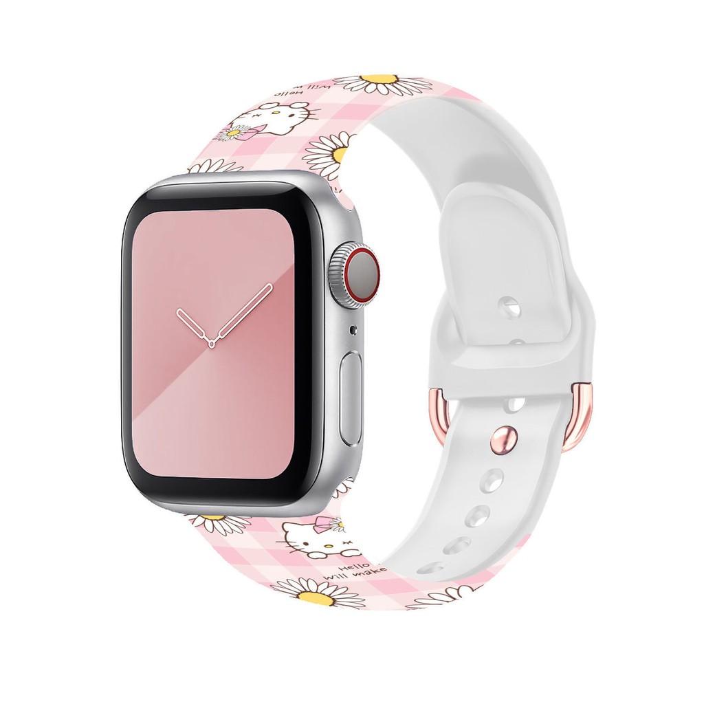 สาย applewatch Suitable for Apple 6se tide brand printing sports silicone strap Applewatch houndstooth strap 1-6 generat